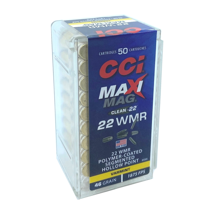 CCI Maxi-Mag Clean 22 WMR Ammo 46 Grain Polymer Coated Segmented Lead HP