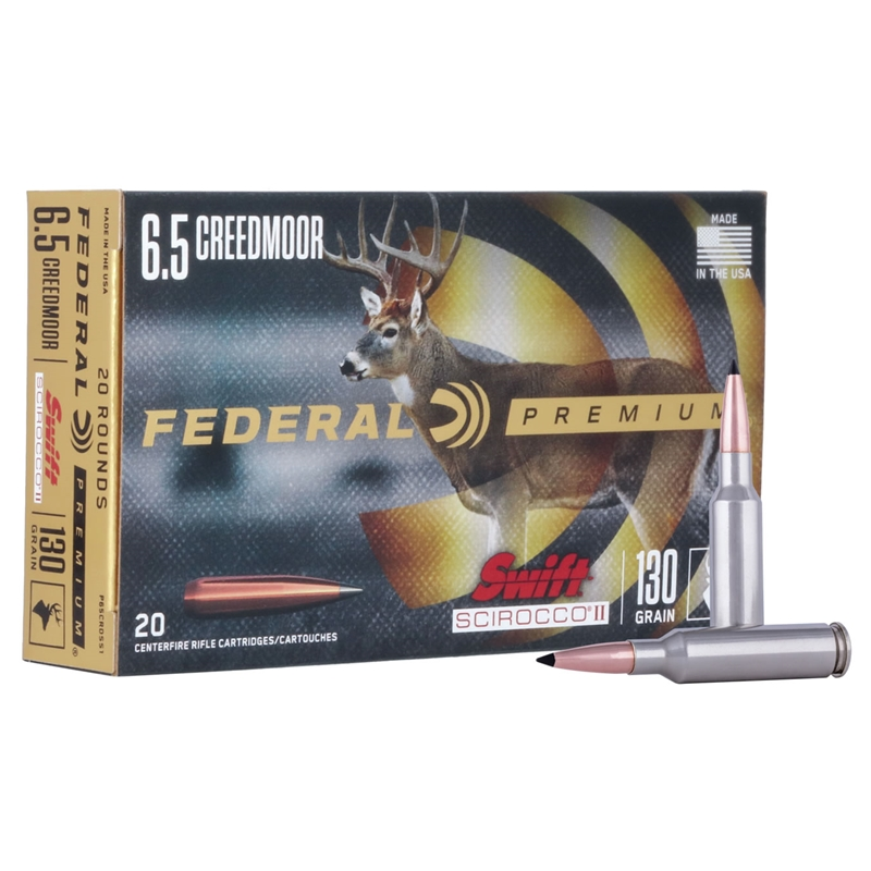 Federal Premium 6.5 Creedmoor Ammo 130 Grain Swift Scirocco II