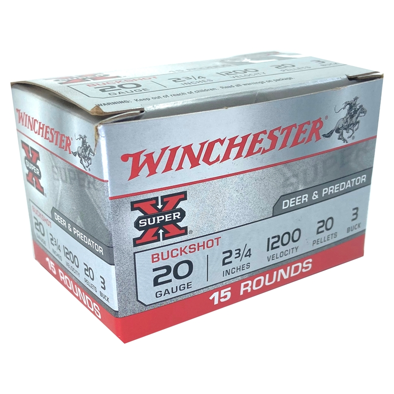"Winchester Super-X 20 Gauge 2 3/4"" #3 Buck 20 Pellets"