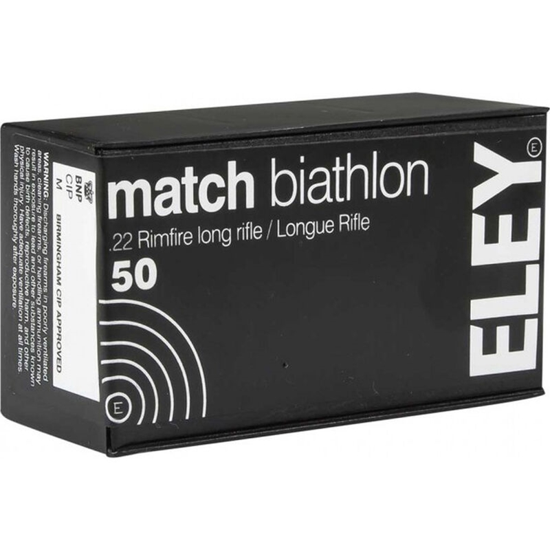 Eley Match Biathlon 22 Long Rifle Ammo 40 Grain Lead Flat-Nose
