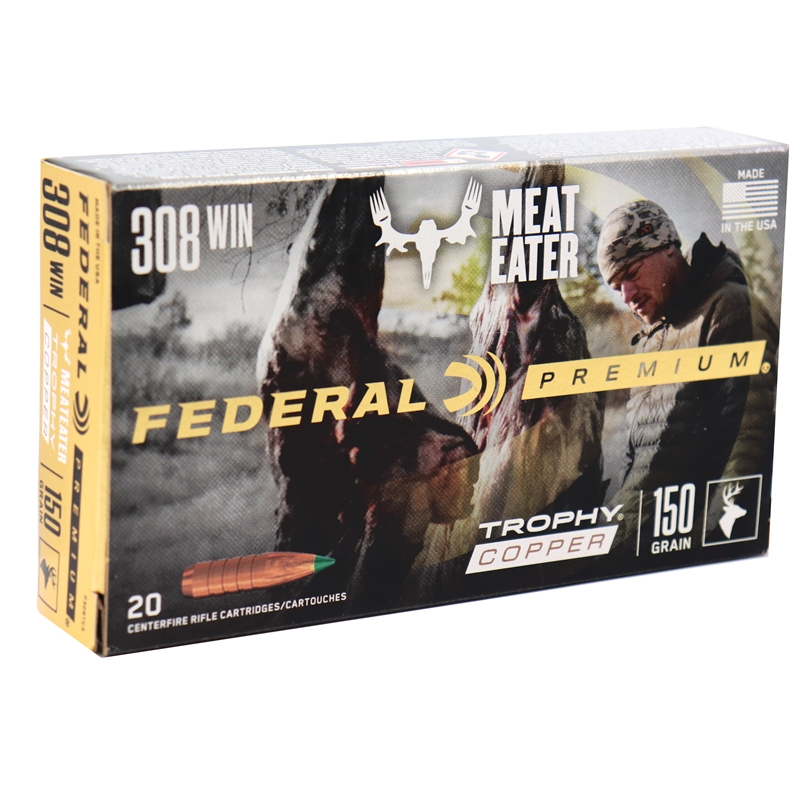 Federal Premium 308 Winchester Ammo 150 Grain Trophy Copper Tipped Boat Tail Lead-Free