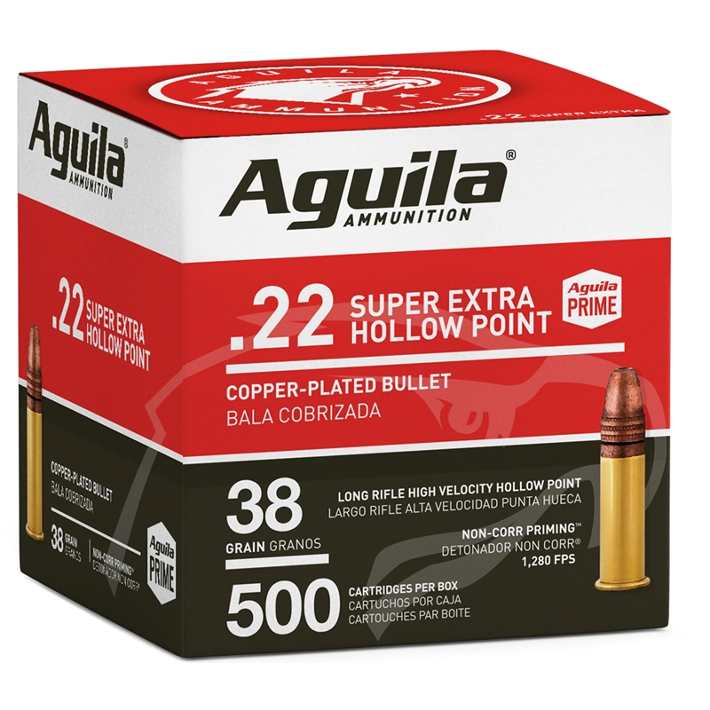 Aguila SuperExtra 22 Long Rifle Ammo 38 Grain High Velocity Plated Lead Hollow Point