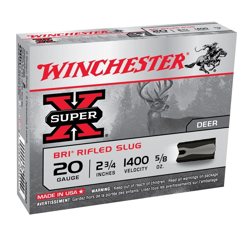 """Winchester Super-X 20 Gauge Ammo 2-3/4"""" 5/8 oz BRI Sabot Slug"""