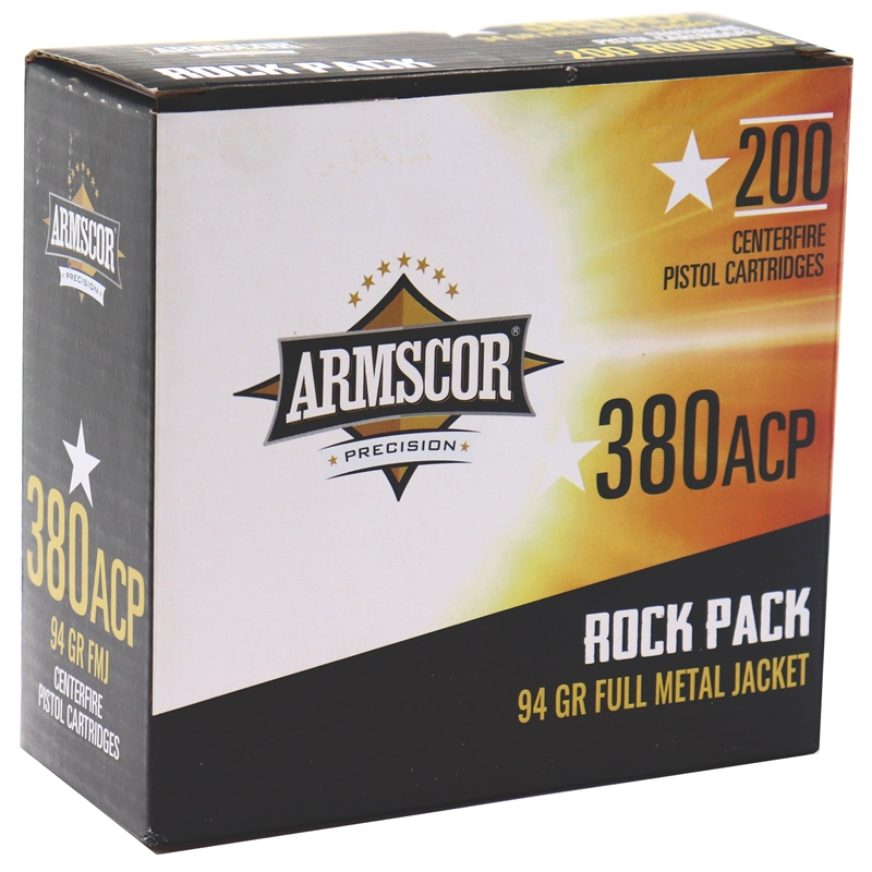 Armscor USA 380 ACP AUTO Ammo 94 Grain Full Metal Jacket 200 Round Rock Pack