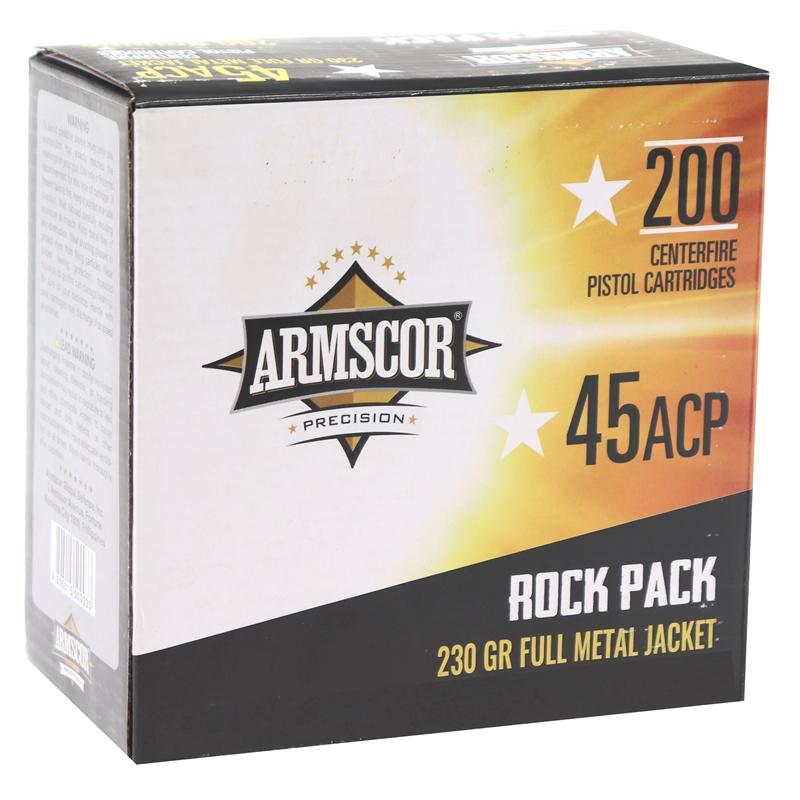 Armscor Precision 45 ACP Auto Ammo 230 Grain Full Metal Jacket 200 Round Rock Pack