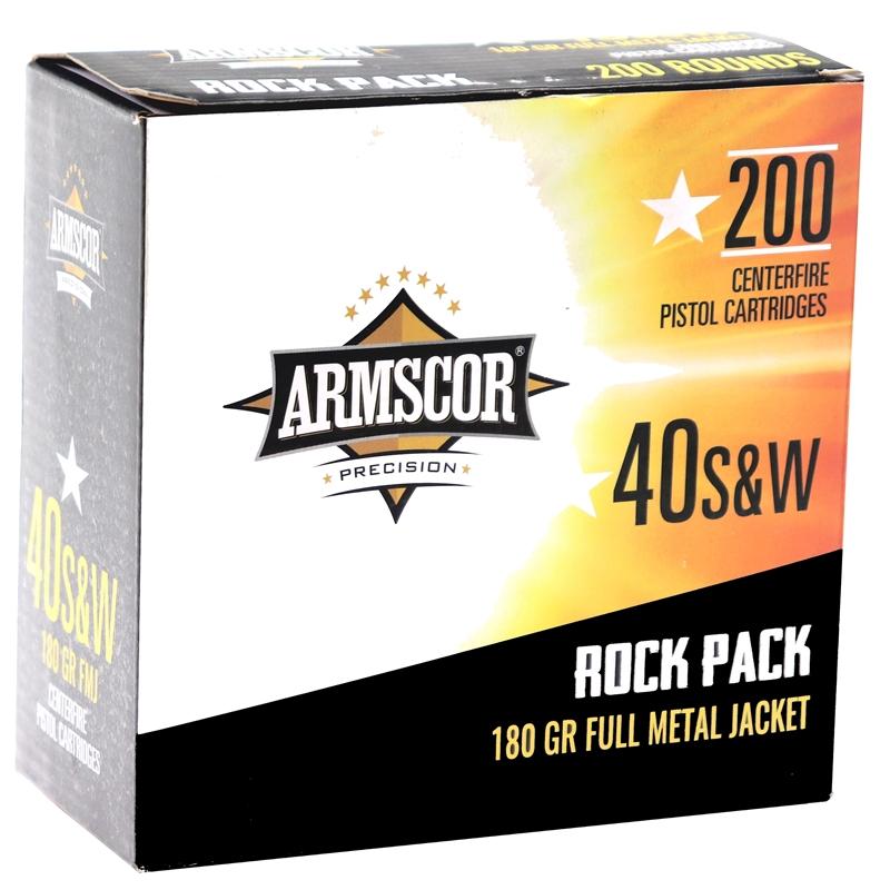 Armscor USA 40 S&W Ammo 180 Grain Full Metal Jacket Full Metal Jacket 200 Rounds Rock Pack