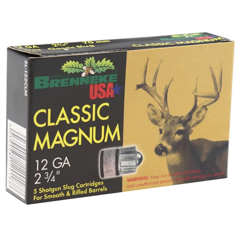 "Brenneke USA Classic Magnum 12 Gauge Ammo 2-3/4"" 1-1/8 oz Lead Slug"