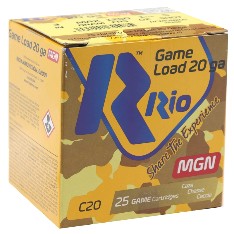"""Rio Game Load 20 Gauge Ammo 3"""" 1-1/4 oz #5 Max Dram Lead Shot 250 Rounds"""