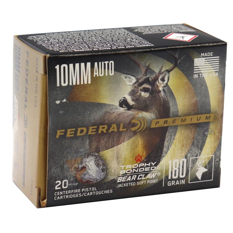 Federal Premium 10mm AUTO Ammo 180 Grain Vital-Shok Trophy Bonded JSP