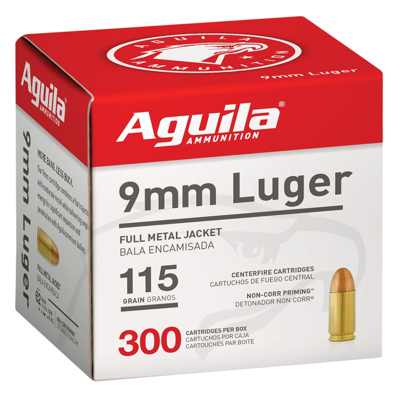 Aguila 9mm Luger Ammo 115 Grain Full Metal Jacket 300 Round Box