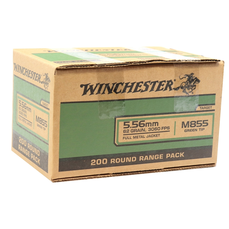 Winchester 5.56mm M855 NATO Ammo 62 Grain Green Tip FMJ 200 Rounds  Value Pack
