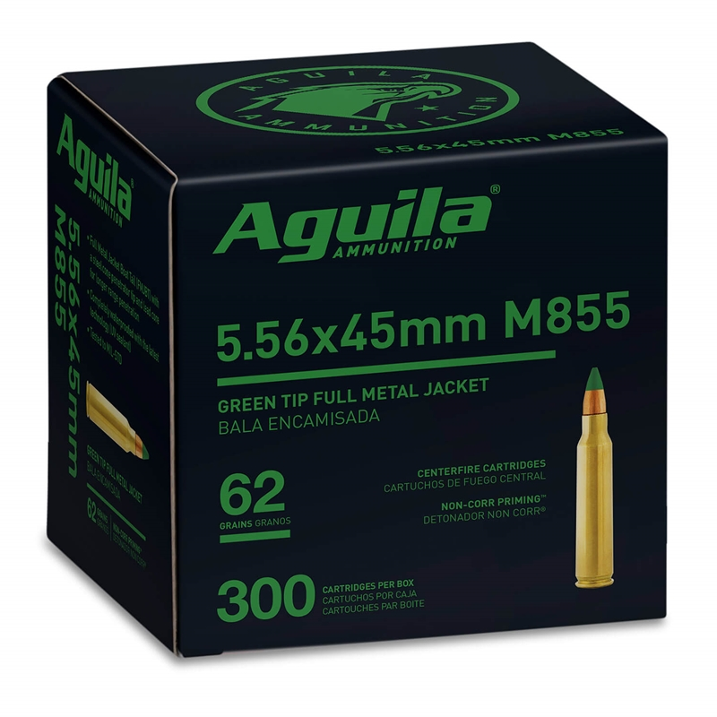 Aguila 5.56x45mm Ammo M855 62 Grain Green Tip FMJBT 300 Rounds Value Pack