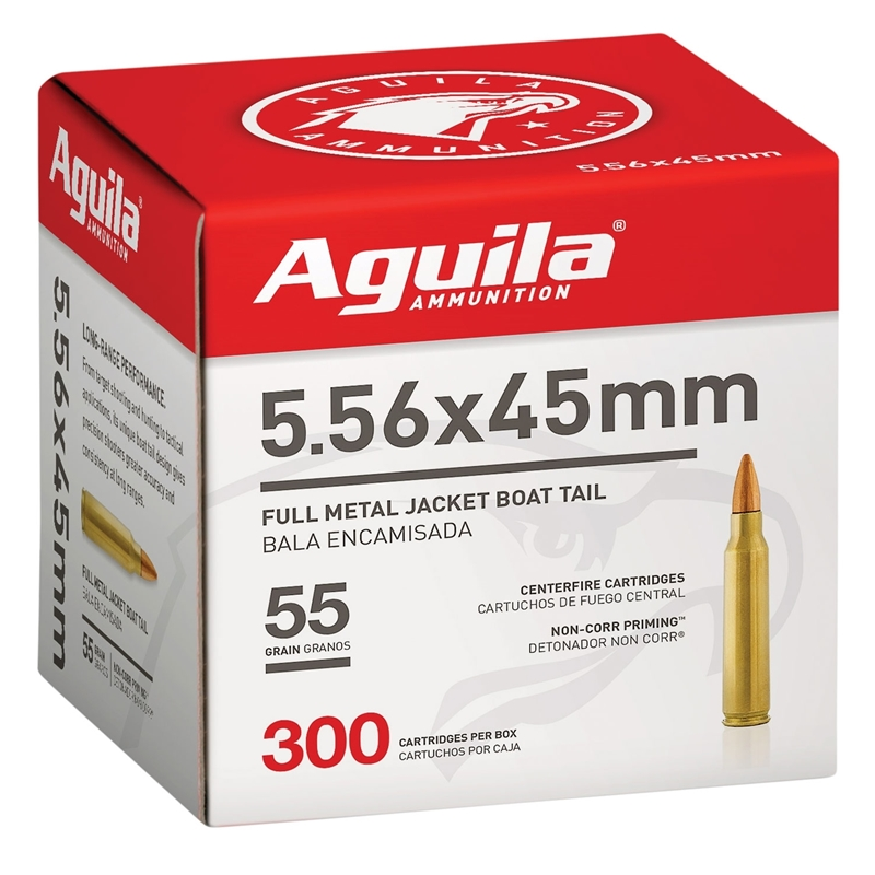 Aguila 5.56mm Ammo 55 Grain FMJBT 300 Rounds Value Pack