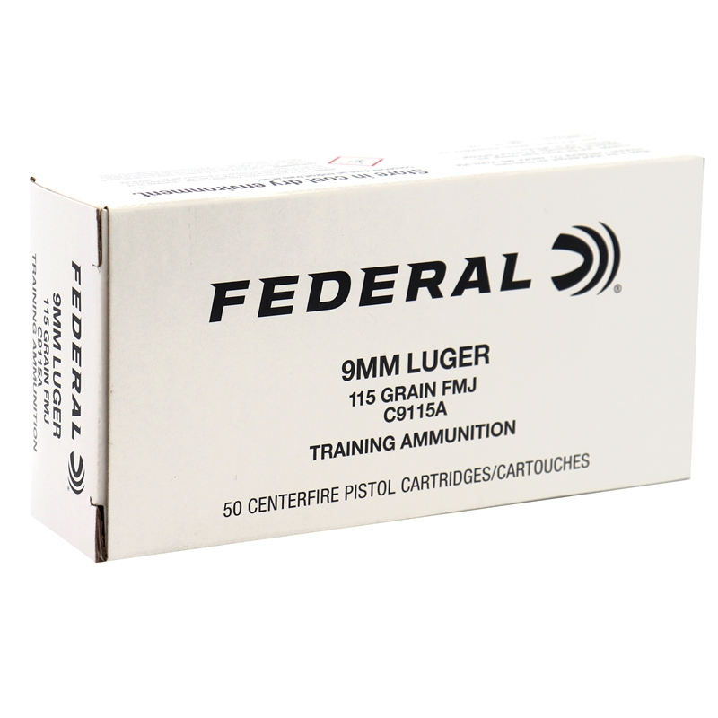 Federal Training 9mm Luger Ammo 115 Grain Full Metal Jacket