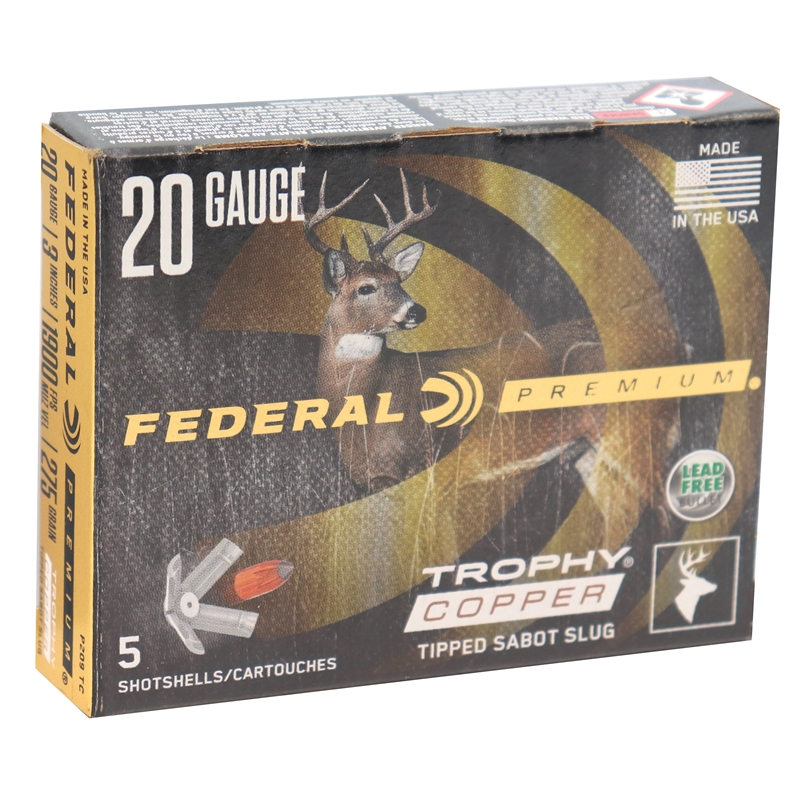 """Federal Premium 20 Gauge Ammo 3"""" inch 5/8 oz Trophy Copper Sabot Slug"""