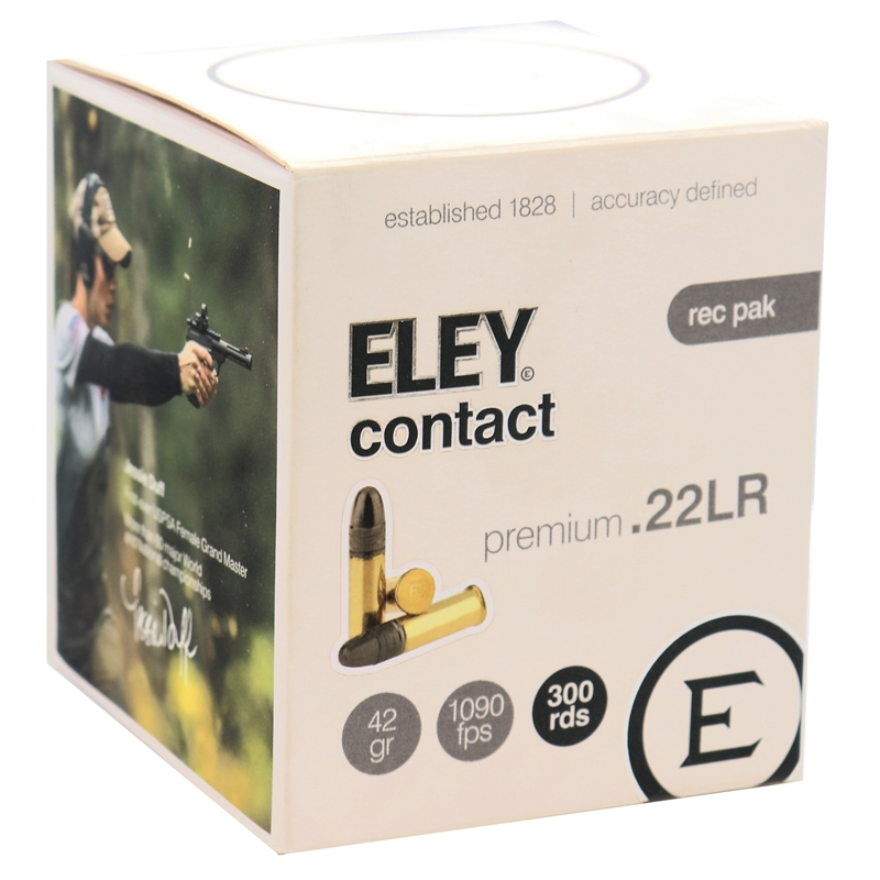 Eley Contact Semi-Auto 22 Long Rifle Ammo Subsonic 42 Grain Lead Round Nose