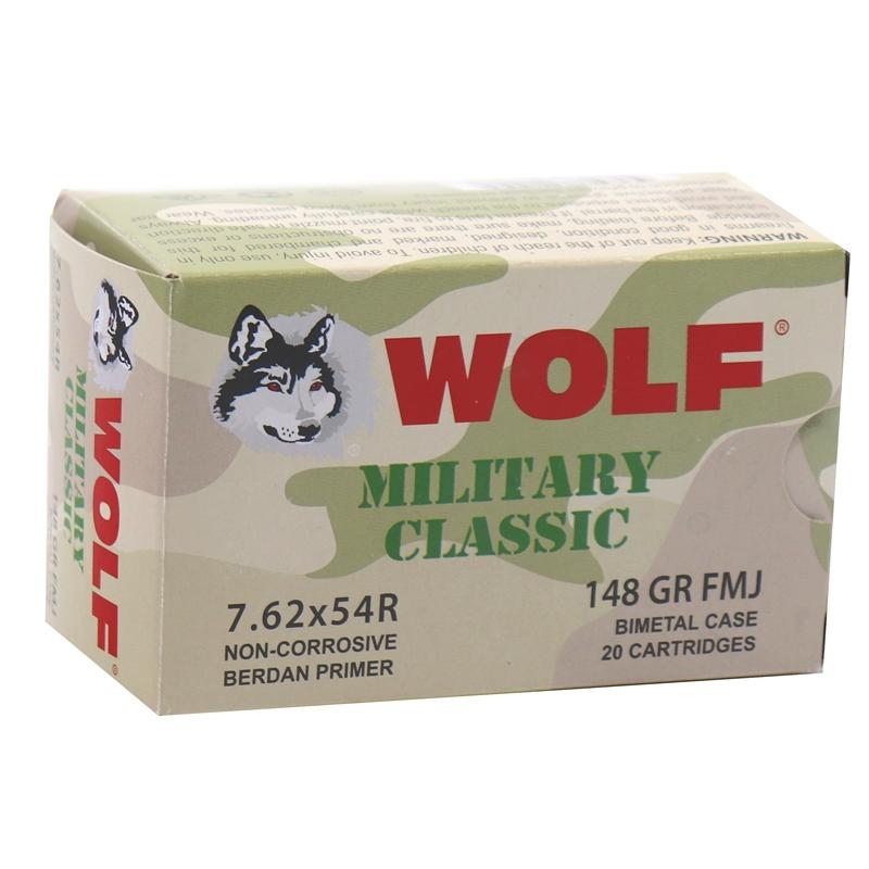 Wolf Military Classic 7.62x54R Ammo 148 Grain FMJ Bimetal Case