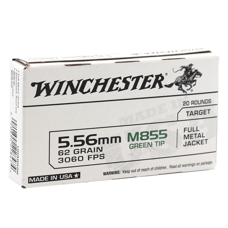 Winchester 5.56mm M855 NATO Ammo 62 Grain Green Tip FMJ