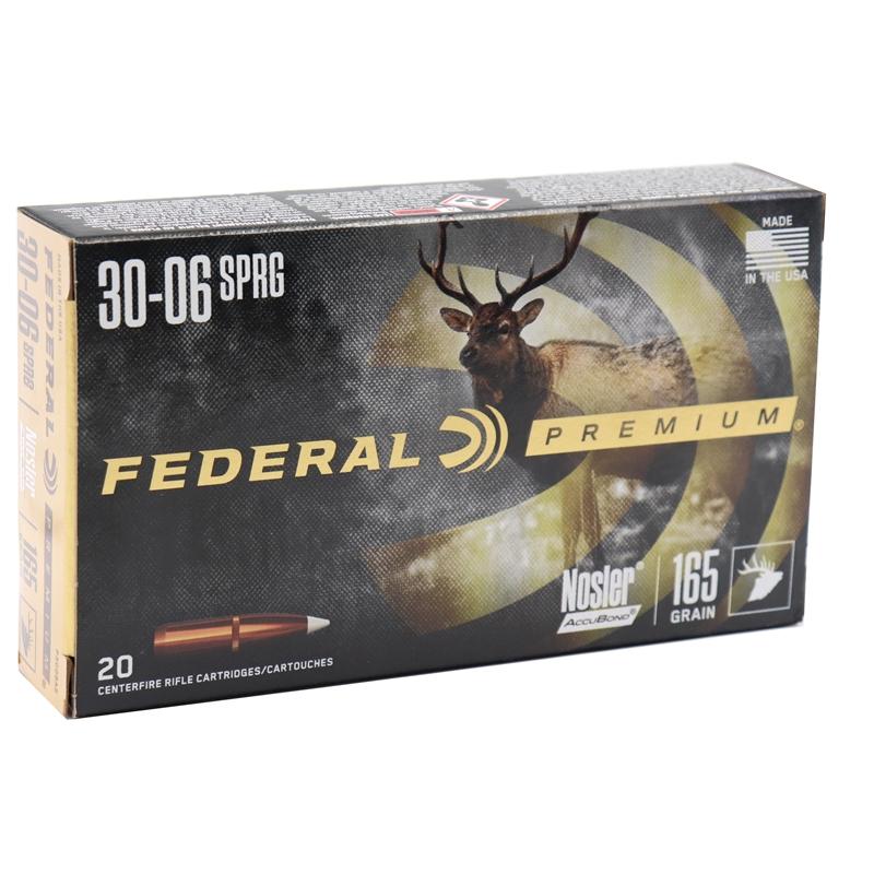 Federal Premium 30-06 Springfield Ammo 165 Grain Nosler AccuBond