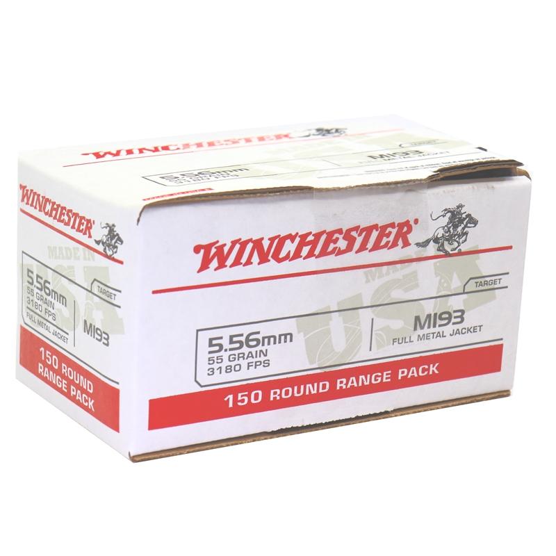 Winchester USA 5.56x45mm NATO M193 Ammo 55 Grain FMJ 150 Rounds Value Pack