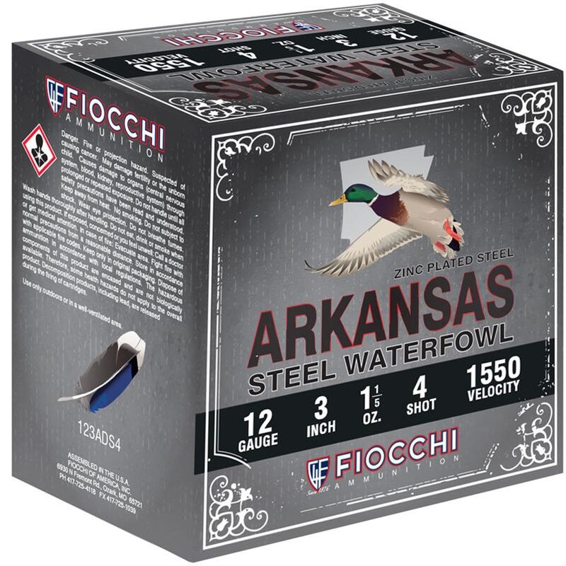 Fiocchi Arkansas Steel Waterfowl 12 Gauge Ammo 1-1/5oz #4 Steel Shot