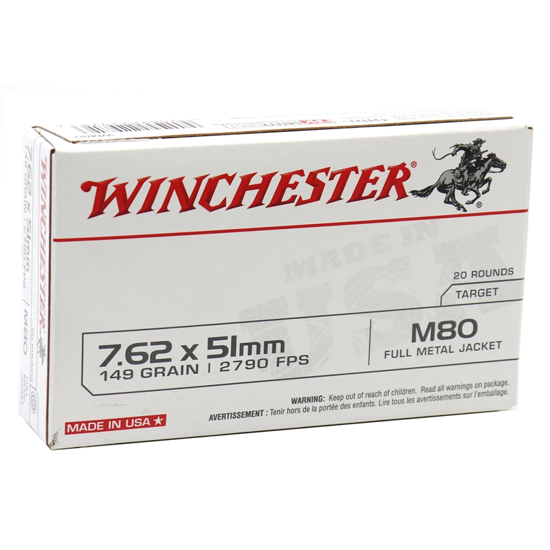Winchester USA 7.62x51mm NATO Ammo 149 M80 Grain Full Metal Jacket