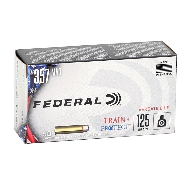 Federal Train + Protect 357 Magnum Ammo 125 Grain Versatile Hollow Point