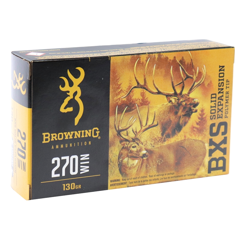 Browning BXR 270 Winchester Ammo 130 Grain BXS Solid Expansion