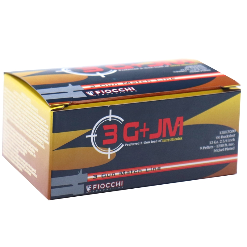 "Fiocchi 3-Gun 12 Gauge Ammo 2-3/4"" 00 Buckshot 9 Nickel Plated Pellets"