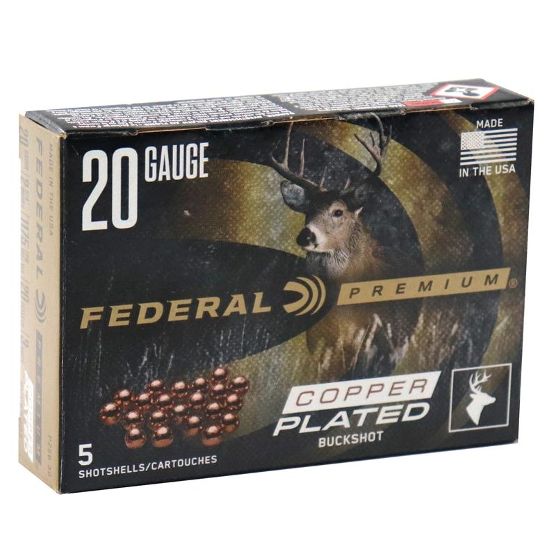 "Federal Premium Vital-Shok 20 Gauge AMmo 2-3/4"" Buffered #3 Copper Plated Buckshot 20 Pellets"