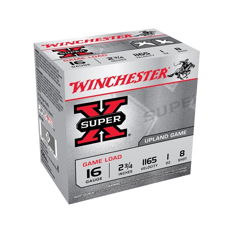 """Winchester Super-X Game Load 16 Gauge Ammo 2-3/4"""" 1 oz #8 Shot 250 Round Case"""