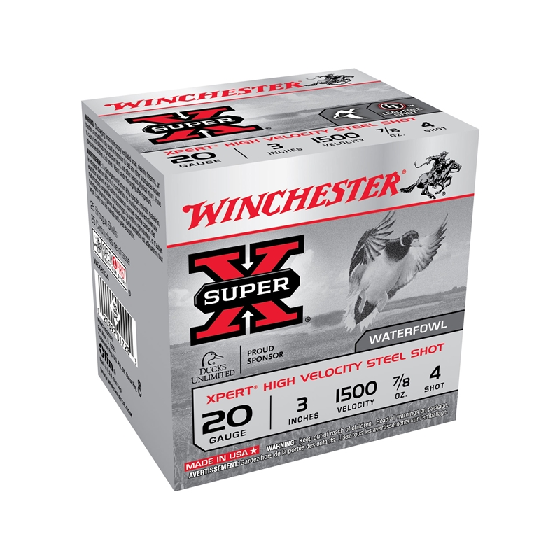 """Winchester Xpert High Velocity 20 Gauge 3"""" 7/8 oz #4 Non-Toxic Plated Steel Shot 250 Rounds"""