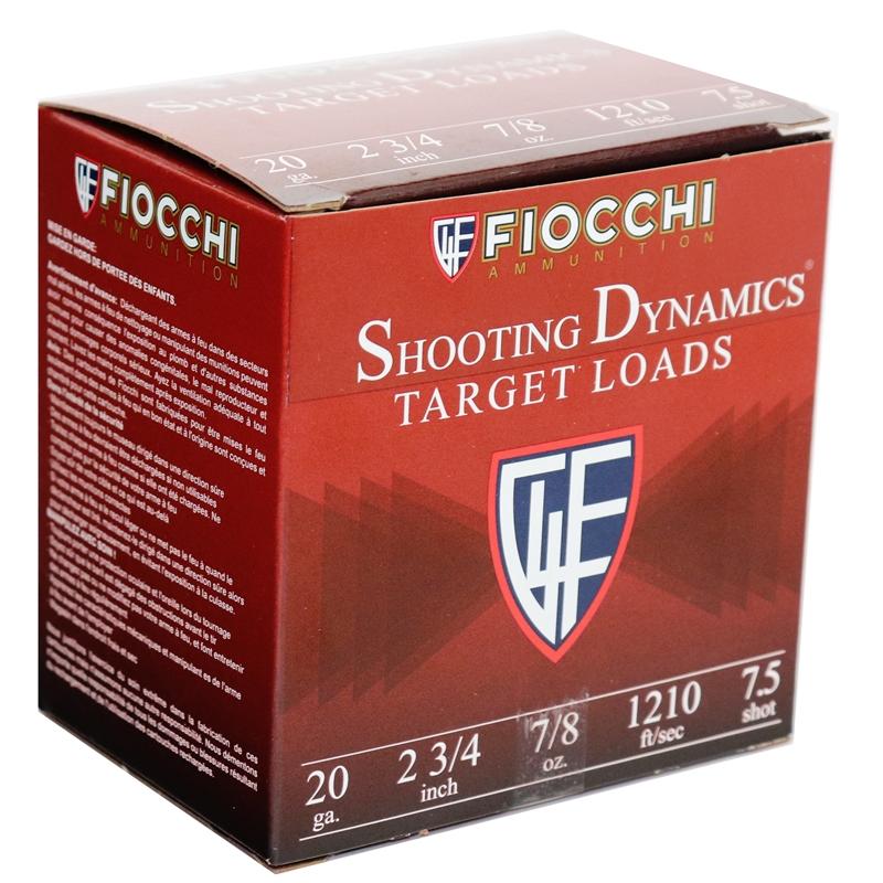 "Fiocchi Shooting Dynamics 20 Gauge 2-3/4"" 7/8oz. #7.5 Shot 250 Round Case"