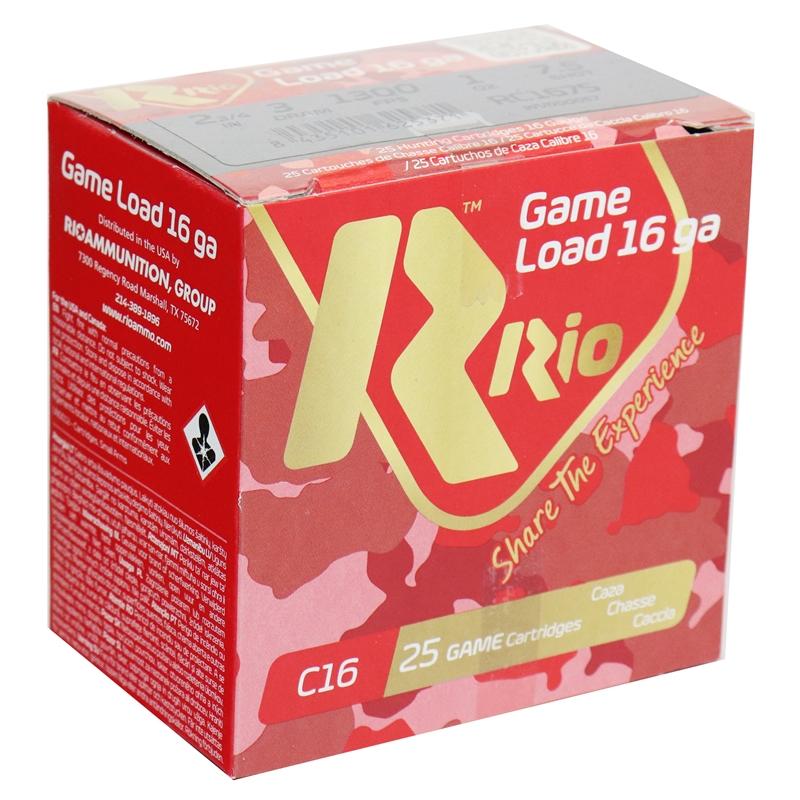 "RIO Game Load 16 Gauge Ammo 2 3/4"" 3 dr 1 oz #7.5 Shot 250 Round Case"