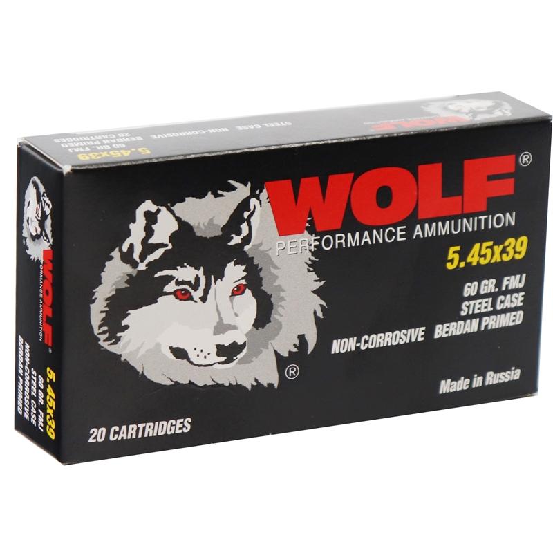 Wolf Performance 5.45 x 39mm Ammo 60 Grain Full Metal Jacket Steel Case