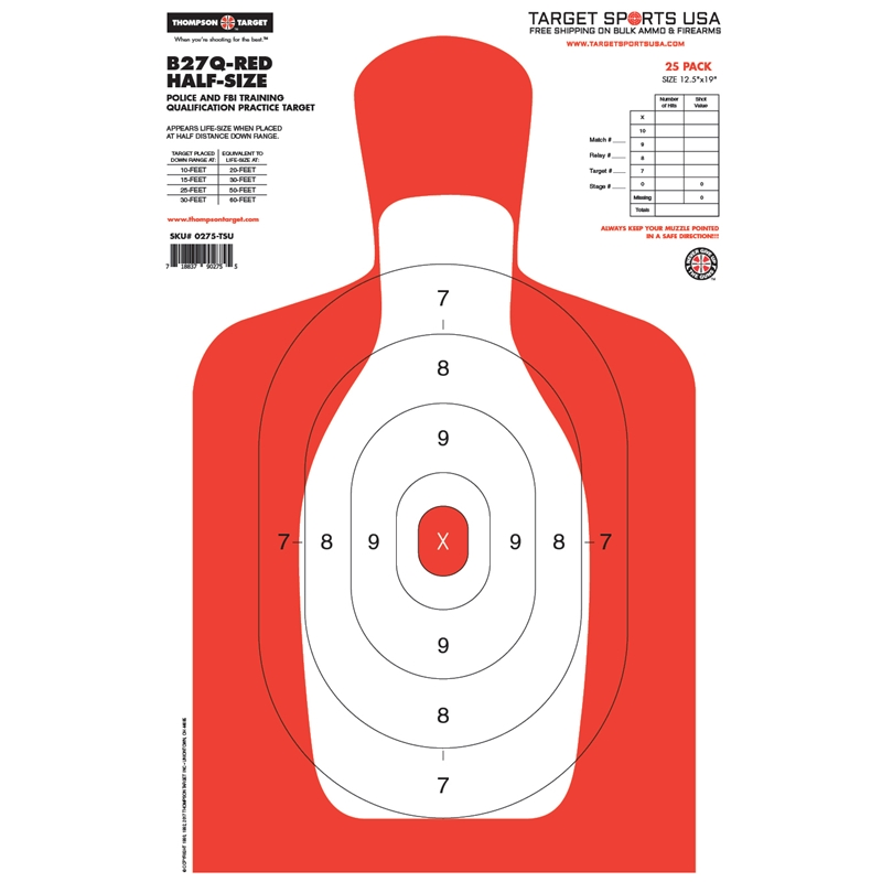 "Target Sports USA B27-Half-Size Human Silhouette Targets 12.5""x19""25 Pack"