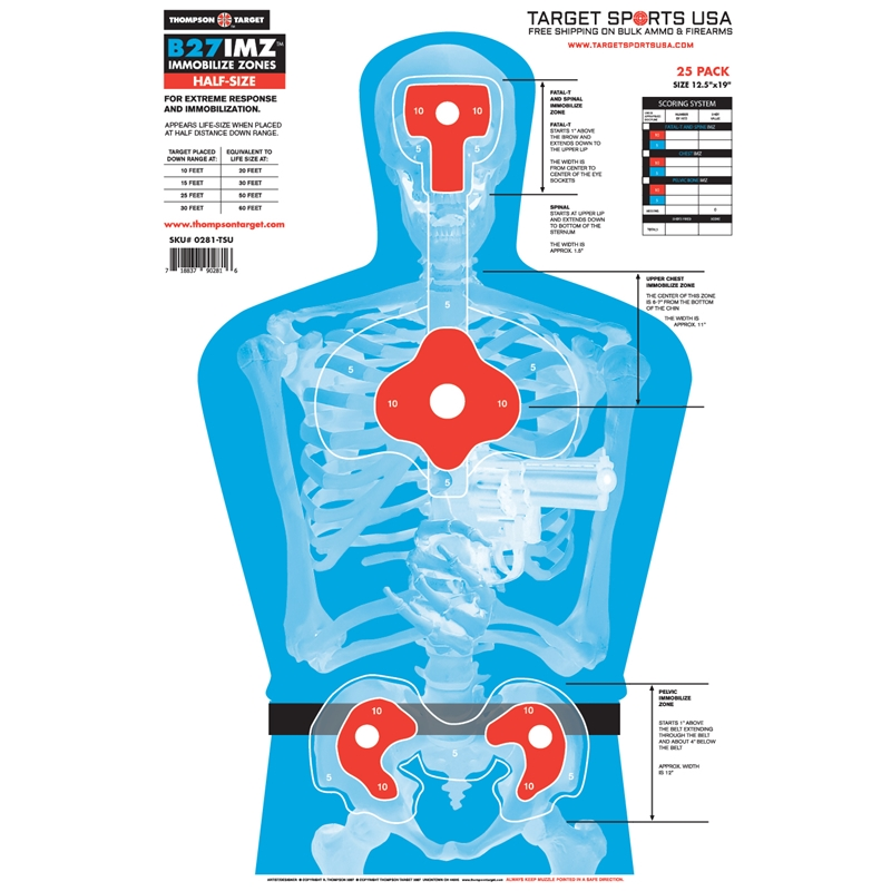 "Target Sports USA B27-IMZ Half-Size Human Silhouette Targets 12.5""x19""25 Pack"