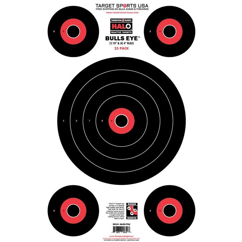 "Target Sports USA HALO Bullseye 10"" & 4"" Reactive Splatter Targets 12.5""x19""25 Pack"
