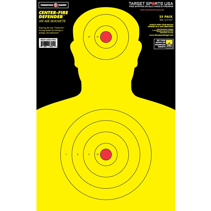 "Target Sports USA Center-Fire Life Size Silhouette Targets 12.5""x19""25 Pack"