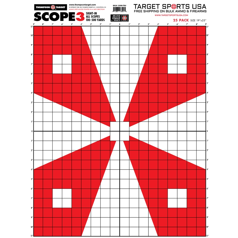 """Target Sports USA Scope 3 - Paper Alignment Sight-In Targets 12.5""""x19""""25 Pack"""