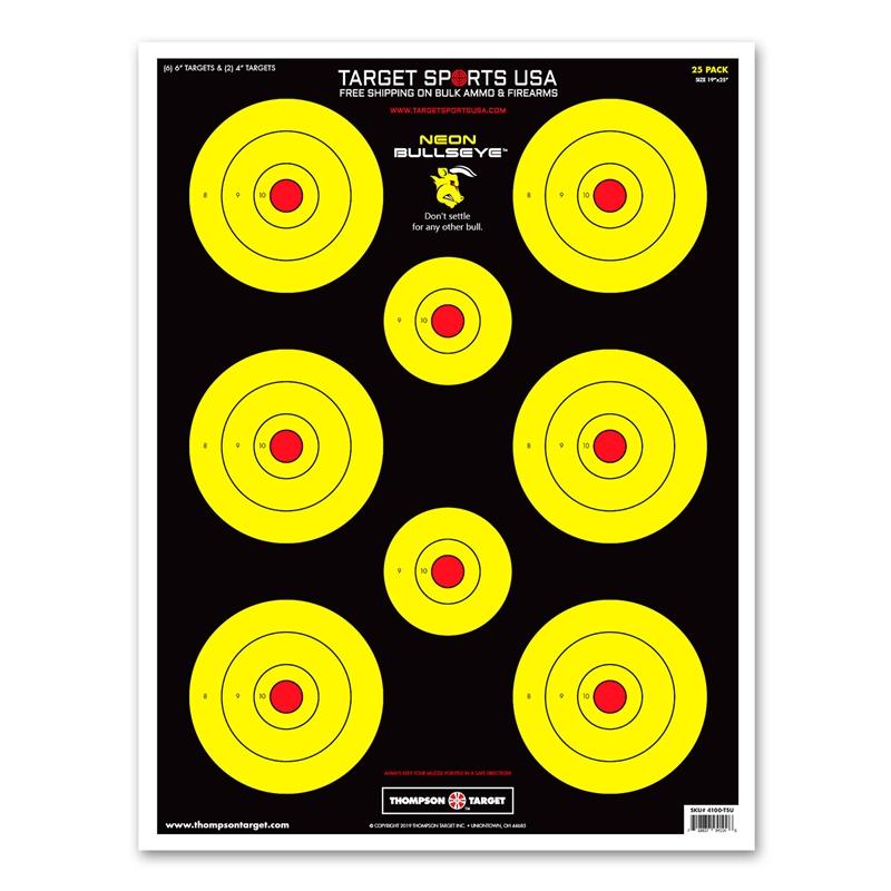 "Target Sports USA Neon Bullseye - Ultra Bright Paper Targets 19x25"" 25 Pack"