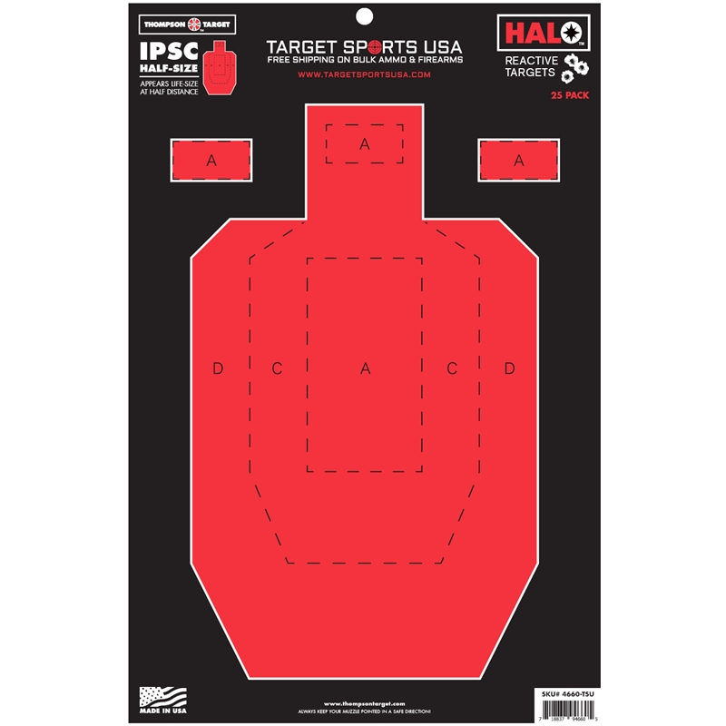 """Target Sports USA HALO Half Size IPSC Targets 12.5""""x19""""25 Pack"""