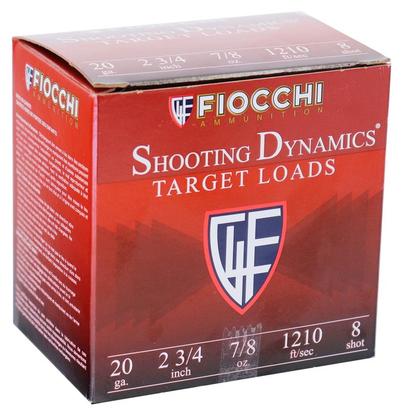 "Fiocchi Shooting Dynamics 20 Gauge 2-3/4"" 7/8oz. #8 Shot 250 Round Case"
