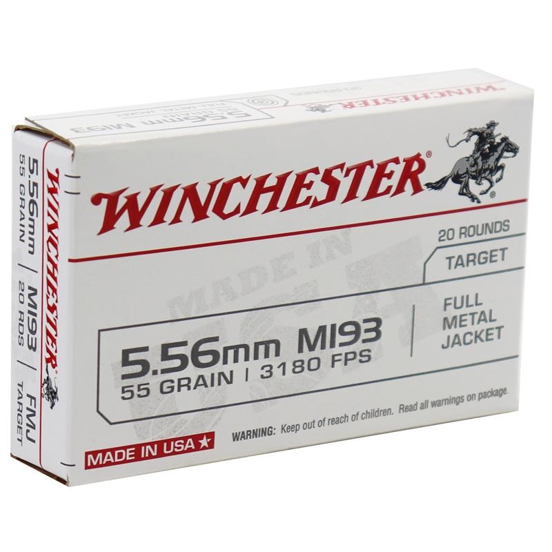 Winchester USA 5.56x45mm NATO M193 Ammo 55 Grain FMJ