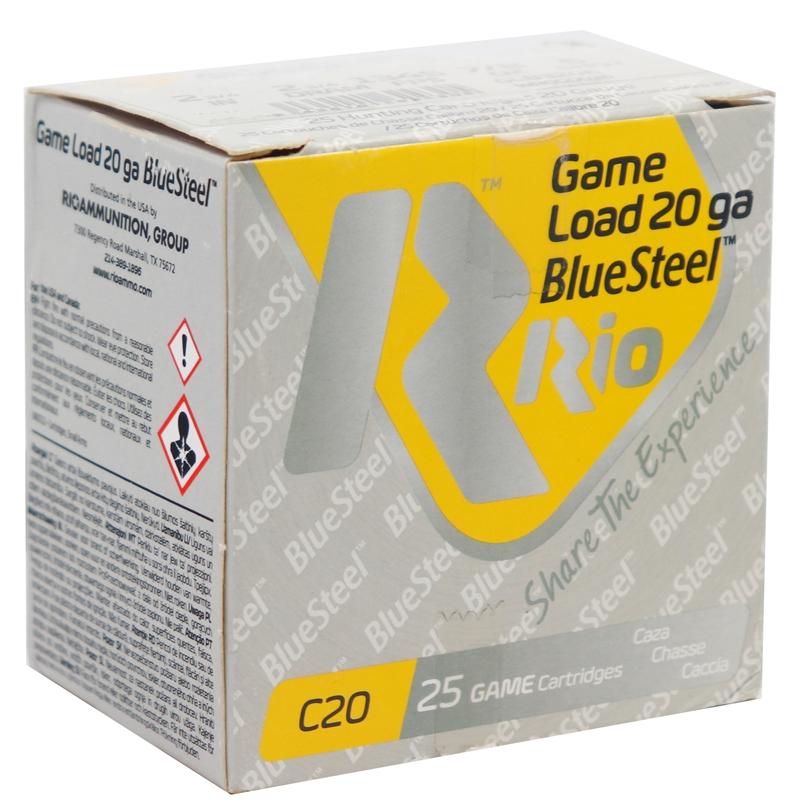 """Rio Game Load Blue Steel 20 Gauge Ammo 2-3/4"""" 7/8 oz #6 Shot 250 Round Case"""