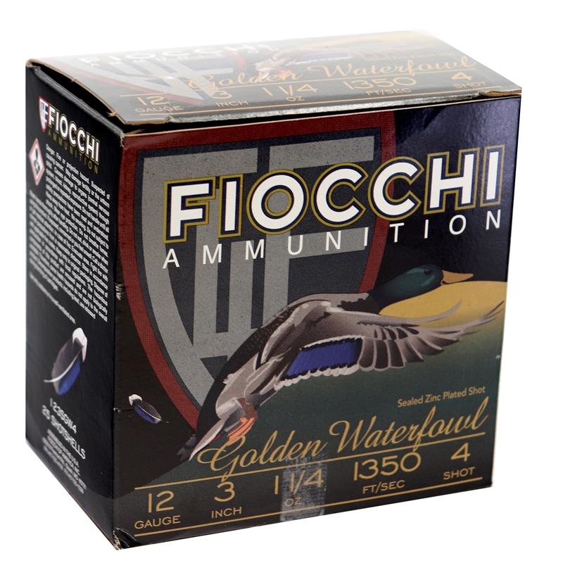 Fiocchi Golden Waterfowl 12 Gauge Ammo 3″ 1 1/4 oz  #4T Shot 250 Rounds