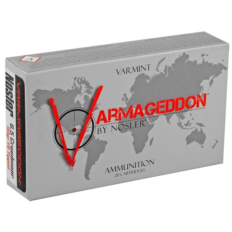 Nosler Varmageddon 6.5 Creedmoor Ammo 90 Grain Polymer Tip Flat Base