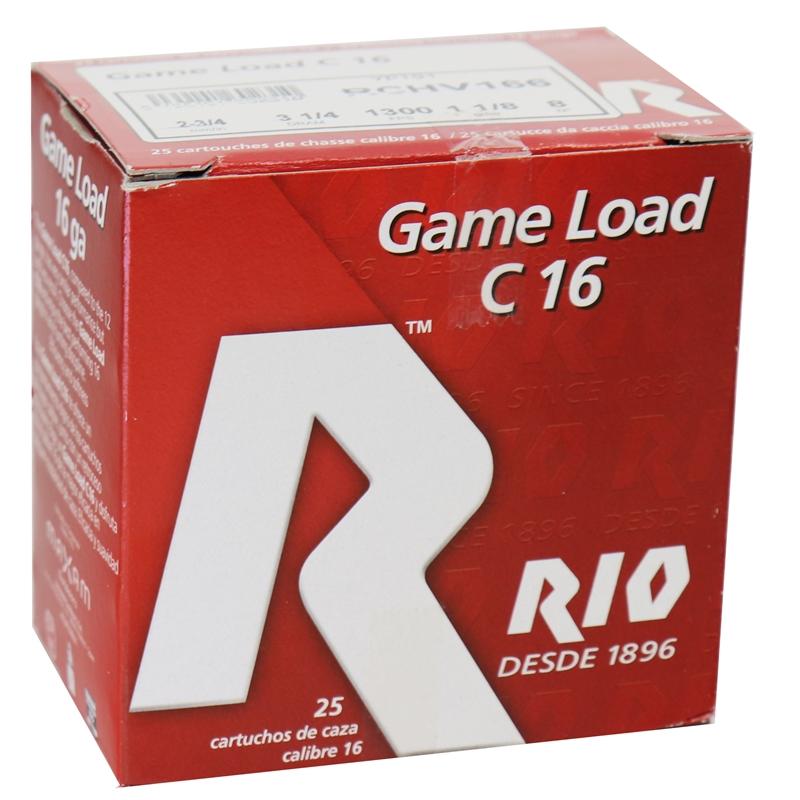 """Rio Game 16 Gauge Ammo 2 3/4""""1 1/8 oz #8 Shot 250 Round Case"""