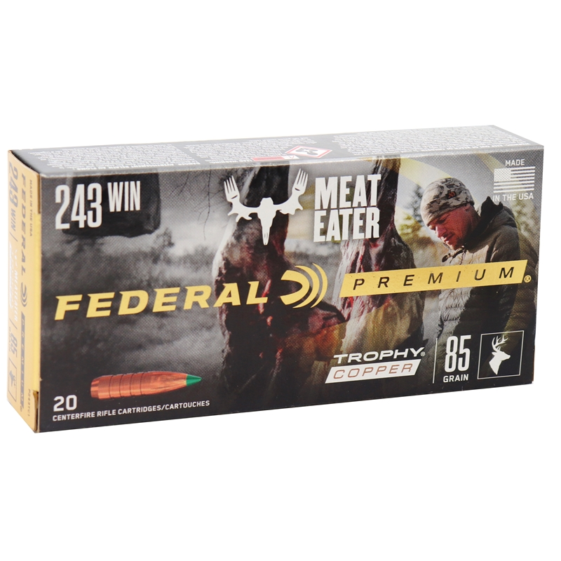 Federal Premium Meat Eater 243 Winchester Ammo 85 Grain Trophy Copper Tipped BT Lead-Free