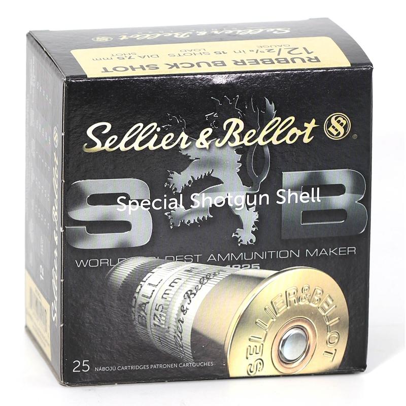 """Sellier & Bellot 12 Gauge Ammo 2-5/8"""" 7.5mm Rubber Buckshot 15 Pellets 250 Rounds"""